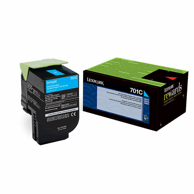 Lexmark 70C1HC0 (701HC) Cyan High Yield Toner Cartridge